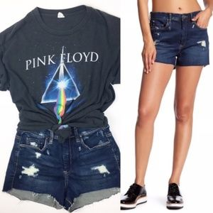 Blank NYC Wedge High Rise Frayed Jean Shorts